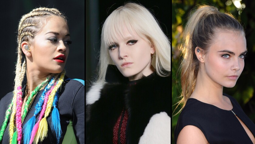 Rita Ora, from left, goes all the way in the latest cornrow craze; a model at Saint Laurent evokes the eye-grazing bangs of the 1960s; Cara Delevingne pairs her ponytail with formalwear.