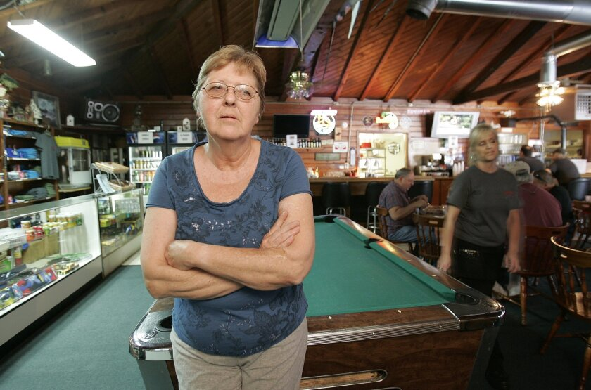 Phyllis Kamps was photographed in the cafe on Thursday around noon - with the impact of the road closure apparent.