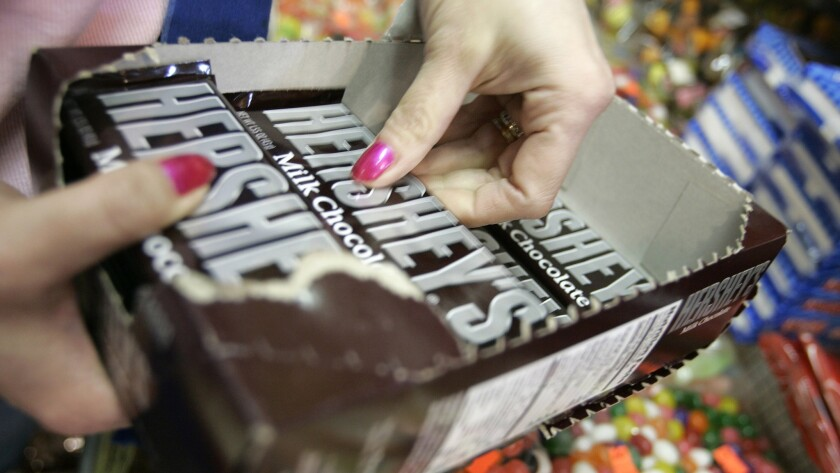 Hershey has teamed up with 3D Solutions to explore 3-D candy-printing opportunities. Above, a Hershey chocolate bar.