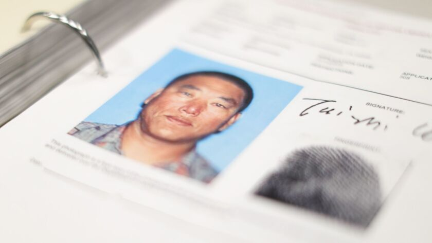 A photo of Tai Zhi Cui in the LAPD's files on a Koreatown triple murder.
