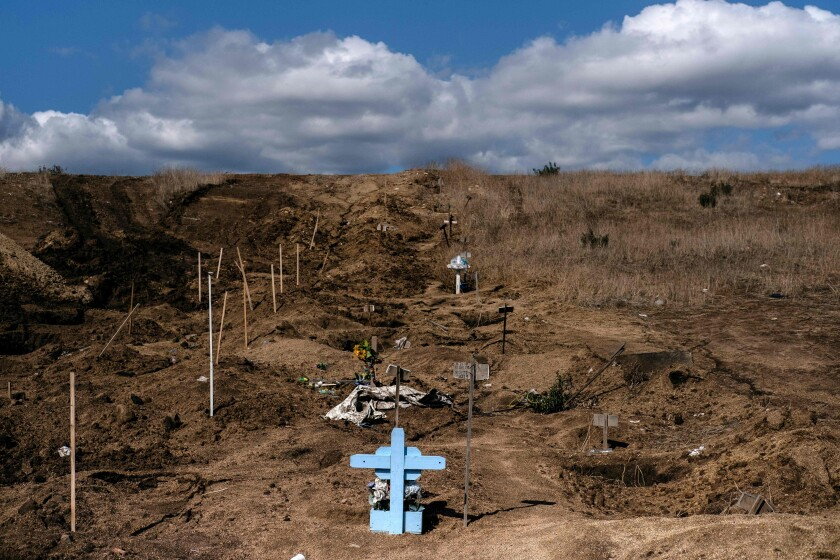 Common graves are used to bury some of the dead on Nov. 22, 2019, at a cemetery in Tijuana,