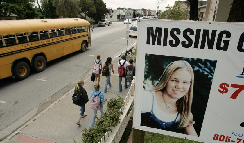 A missing sign showing Kristin Smart, a Cal Poly San Luis Obispo student at the time she vanished in 1996. Smart was declared legally dead in 2002, though her body was never recovered.