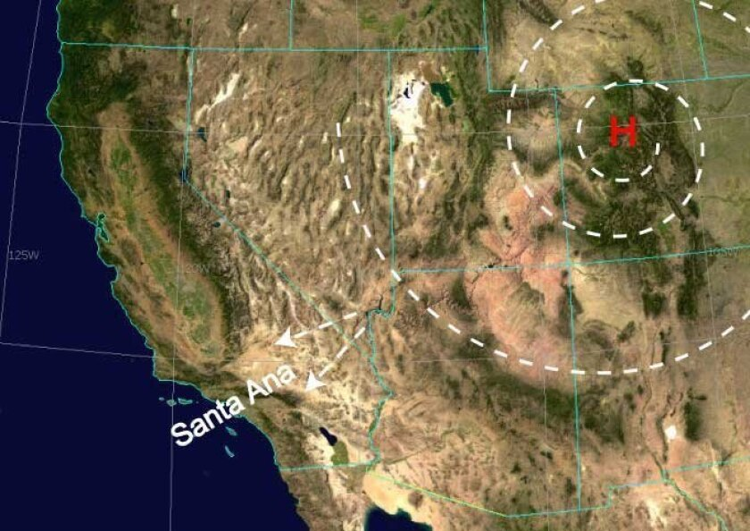 A high pressure system is settling over the Great Basin and will produce some of the strongest Santa Ana winds of the winter, the National Weather Service says.
