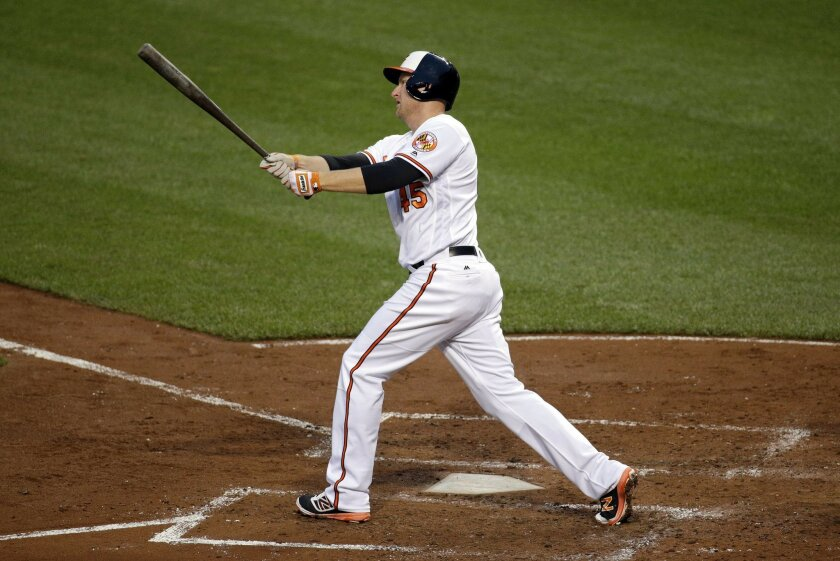 Baltimore Orioles' Mark Trumbo watches his two-run home run during the fourth inning of a baseball game against the Boston Red Sox in Baltimore, Thursday, June 2, 2016. (AP Photo/Patrick Semansky)