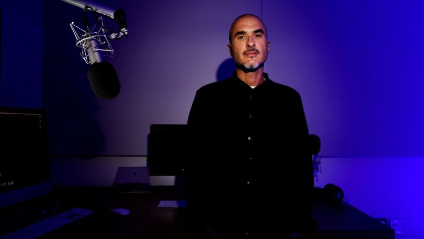 CULVER CITY, CALIF. -- THURSDAY, JULY 26, 2018: Zane Lowe, radio DJ on Apple Music, in the studio at