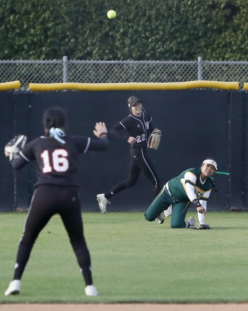 Edison High's Jaelyn Operana, right, passes the ball to Huntington Beach's Megan Ryono, left, for a