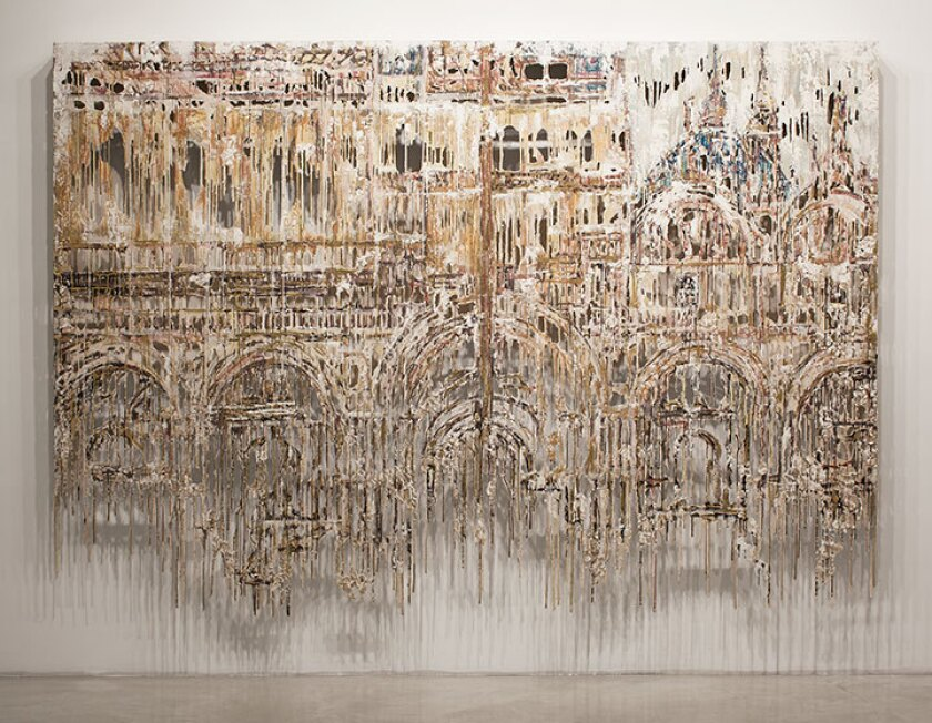 """Sinking and Scaffolding"" by Diana Al-Hadid, 2015."