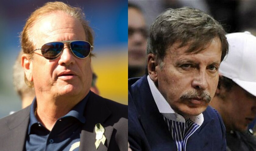 San Diego Chargers chairman Dean Spanos, left, and St. Louis Rams owner Stan Kroenke.