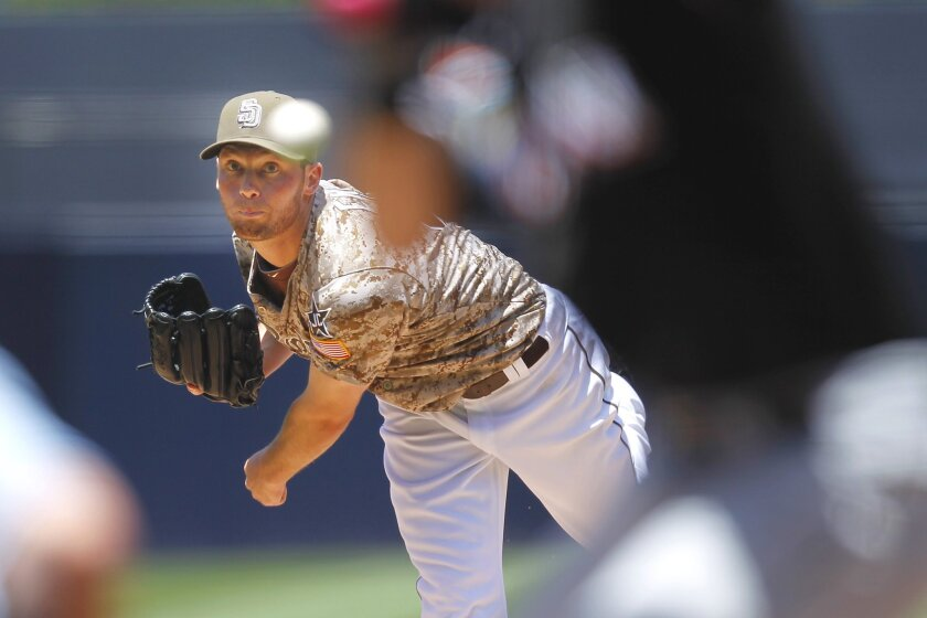 Padres Robbie Erlin pitches against Miami.