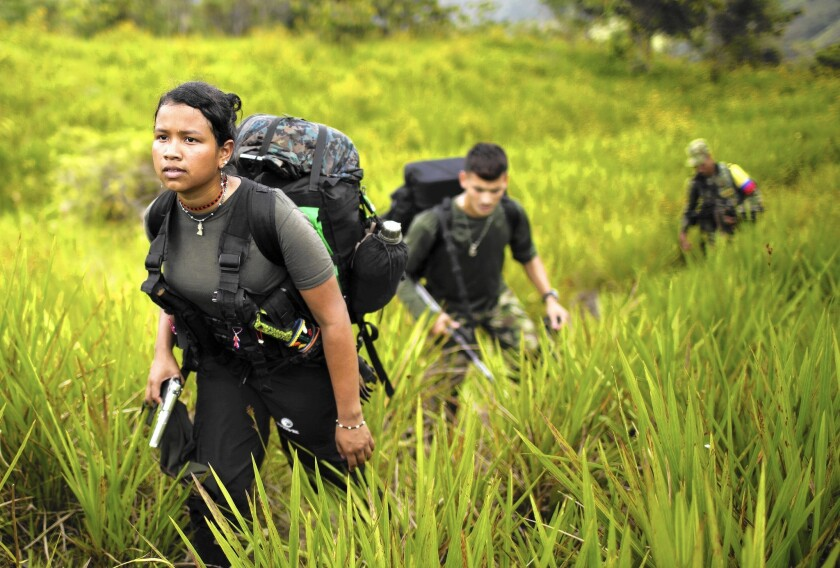FARC rebels trek to a new camp in Antioquia state, in the northwest Andes of Colombia, in January 2016.