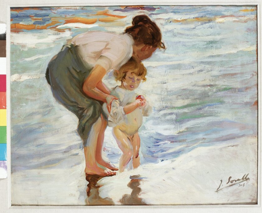 """On the Beach,"" Oil on canvas, by Joaquin Sorolla y Bastida, 1908."