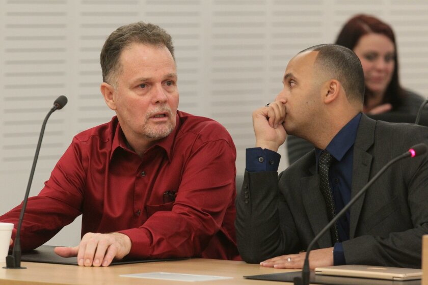"""Charles """"Chase"""" Merritt, left, appeared in a San Bernardino courtroom May 20 with attorney Jimmy Mettias. The attorney later confirmed that he and a team will represent Merritt, who is accused of killing the Mcstay family in their Fallbrook home in 2010."""