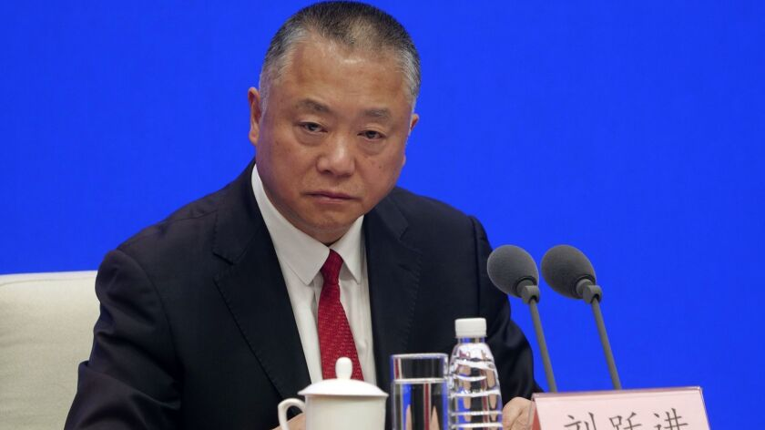 Liu Yuejin, vice commissioner of the National Narcotics Control Commission, speaks during a press co