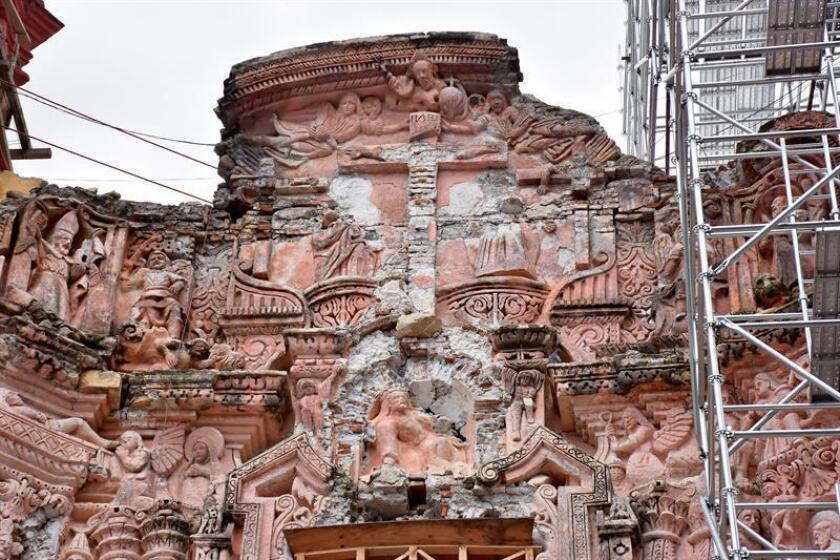 Fotografía fechada el 11 de septiembre de 2018 que muestra el estado actual del santuario del Señor de Tepalcingo tras los daños sufridos por el terremoto del 19 de septiembre de 2017, en el municipio Tepalcingo, estado de Morelos (México). EFE