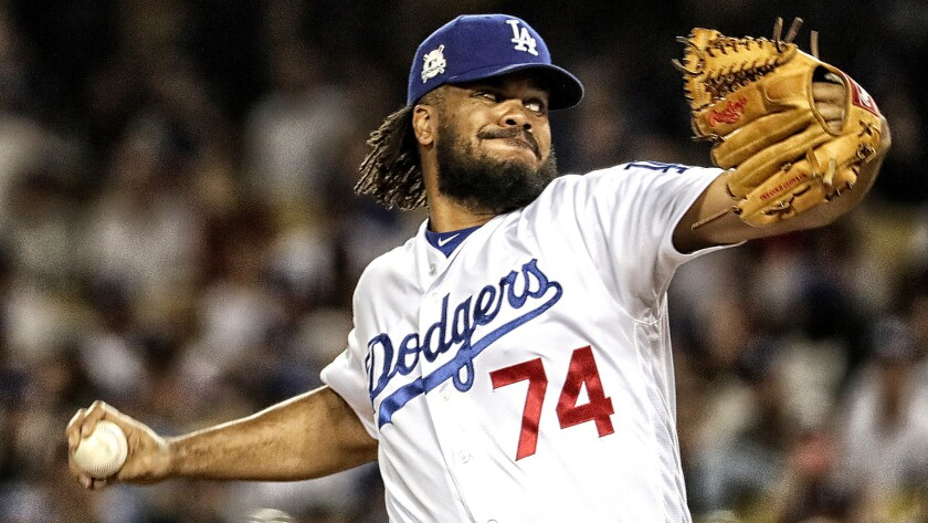 LOS ANGELES, CA, SATURDAY, OCTOBER 14, 2017 - Dodgers closer Kenley Jansen delivers a four out save