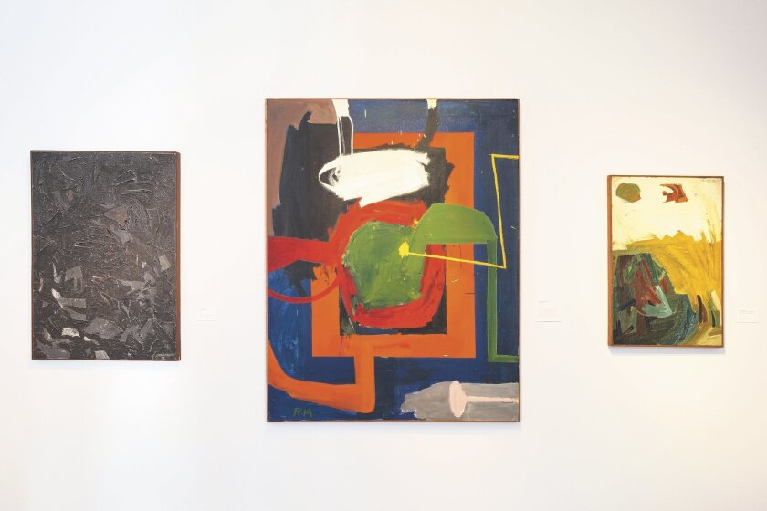 "From left: John Baldessari's ""[…],"" 1959; Richard Allen Morris' ""Smokey Stover,"" 1959-60; and John Baldessari's ""Pete Seeger Is Coming Wednesday. Why Not Ask Him Over? Max,"" 1960, are on view at the Oceanside Museum of Art. Photo: Darren Bradley"