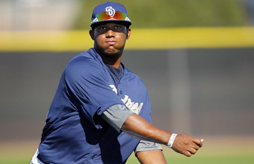 Right fielder Rymer Liriano, pictured before blowing out his right elbow, may still turn out to be the first jewel out of the Padres' baseball academy in the Dominican Republic. K.C. Alfred • u-t