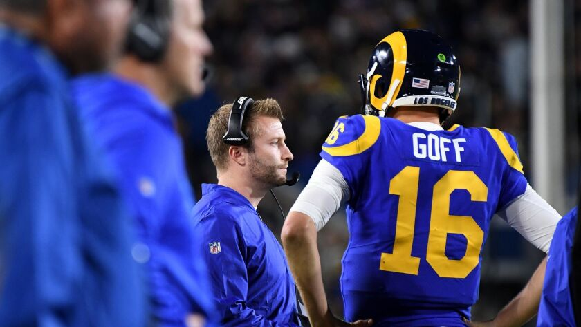 LOS ANGELES, CALIFORNIA DECEMBER 16, 2018-Rams head coach Sean McVay with quarterback Jared Goff at