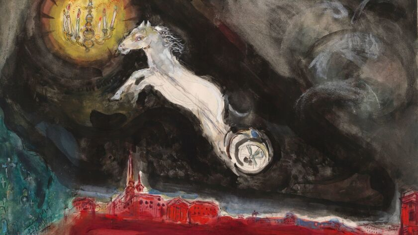 Detail of Marc Chagall's A Fantasy of St. Petersburg. Study for backdrop for Scene IV of the ballet