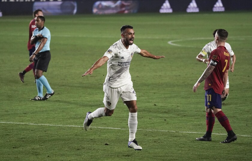 Los Angeles Galaxy's Giancarlo González celebrates his goal against Real Salt Lake.