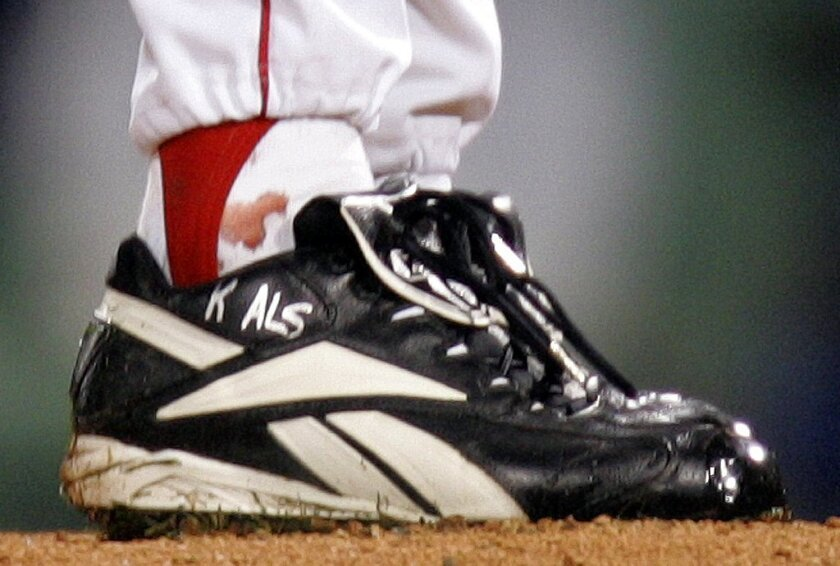 Curt Schilling's sock was bloodied as he pitched Game 2 of the 2004 World Series.