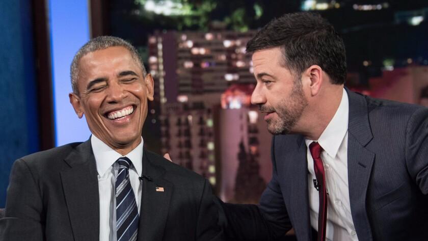 "President Obama and Jimmy Kimmel talk during a commercial break on ""Jimmy Kimmel Live"" on Monday."