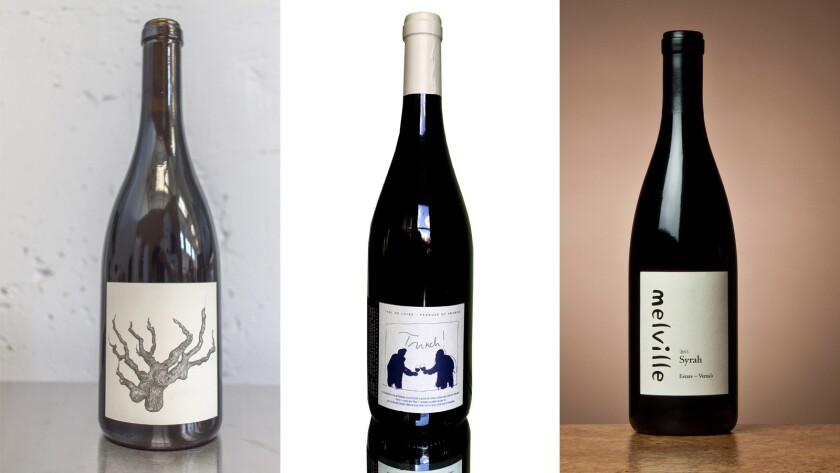 """From left: Broc Cellars' Alexander Valley Carbonic Carignan; Trinch! a Bourgueil (in the Loire Valley); Melville's 2013 """"Verna's"""" Syrah."""