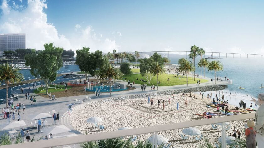 Embarcadero Marina Park North would be regraded to include a beach.