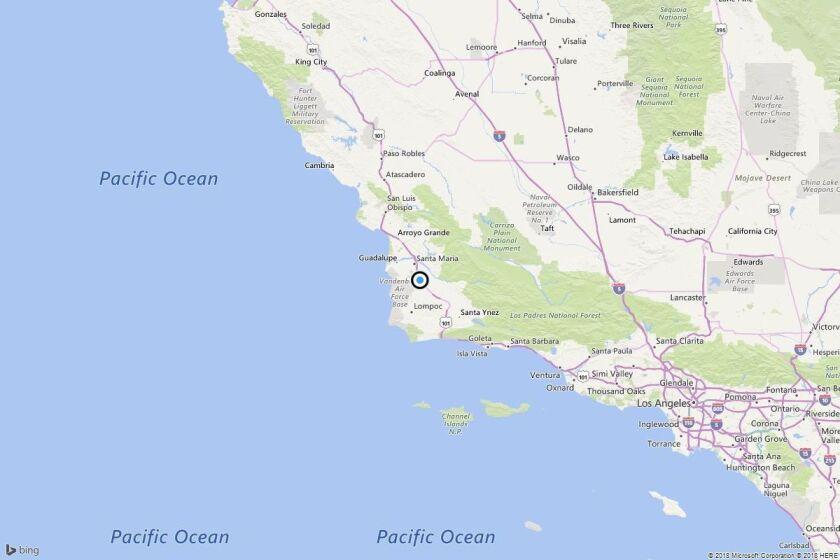 Earthquake: 3.3 quake strikes near Santa Maria, Calif. - Los ... on medano beach map, santa catarina map, sao vicente map, victorville map, solvang ca map, rancho santa fe map, palm springs map, ventura map, sta maria laguna map, san ynez map, san francisco map, los angeles westside map, california map, mt laguna map, los angeles co map, south andros map, pismo beach map, port antonio map, pismo coast map, rancho santa margarita map,