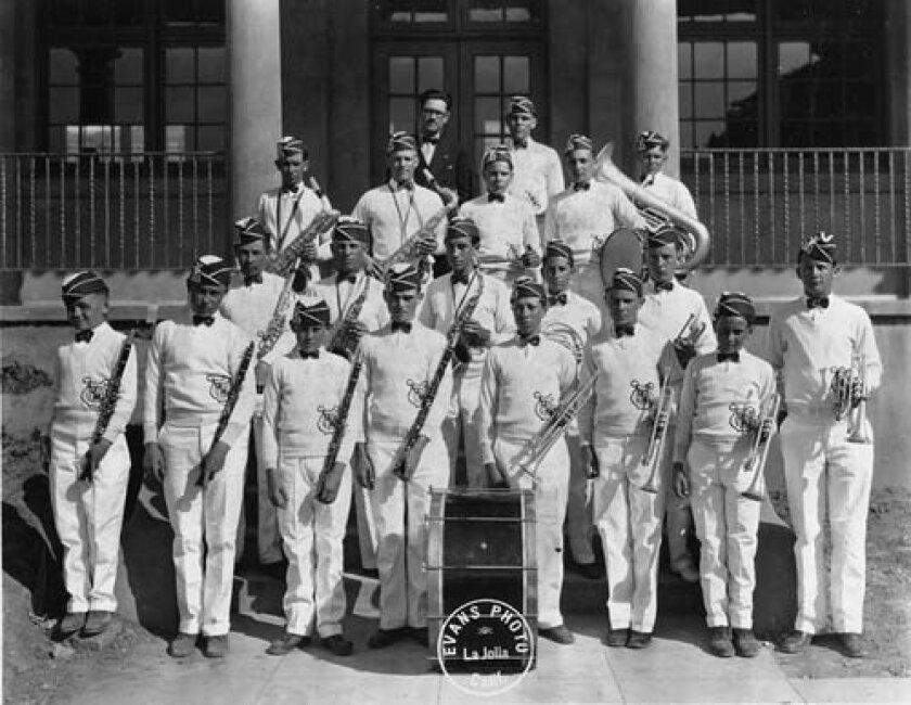 An early incarnation of a marching band at La Jolla High School, circa 1926.  La Jolla High hasn't had a marching band at the school in more than a decade and has never had a dedicated marching band program. Photo courtesy La Jolla Historical Society