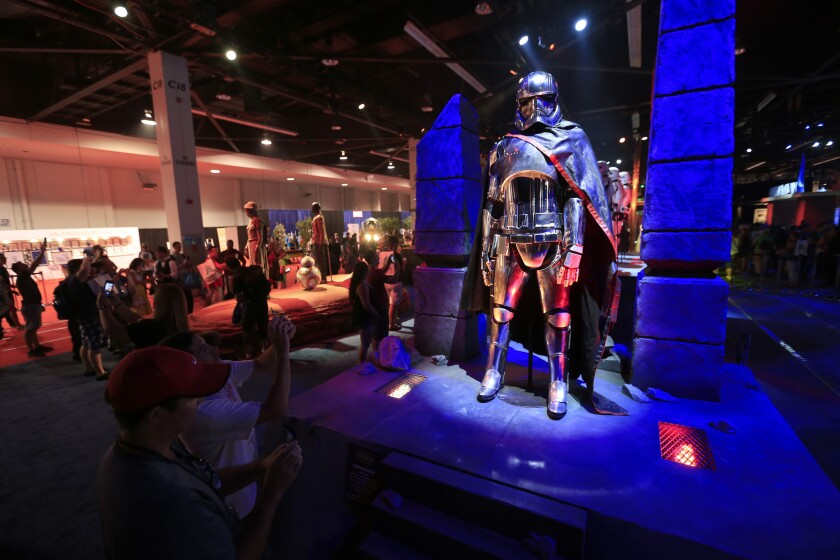 Captain Phasma costume is displayed at Disney's D23 Expo in Anaheim.
