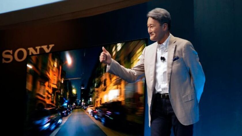 Sony's President and CEO, Kazuo Hirai debuts their newest Bravia OLED television set at CES 2017 in Las Vegas.