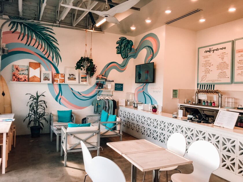 The restaurant flaunts a peaceful and aesthetic interior at 1550 Garnet Ave.