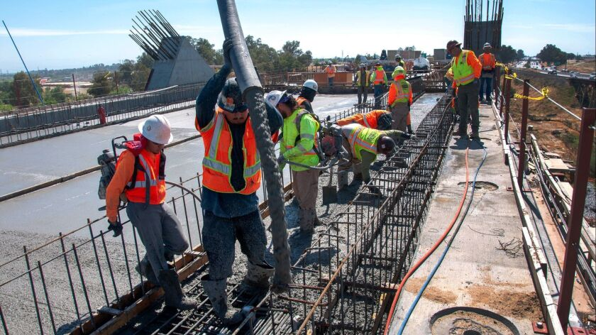Paving the deck for the San Joaquin River Viaduct. Photo by California High-Speed Rail Authority.