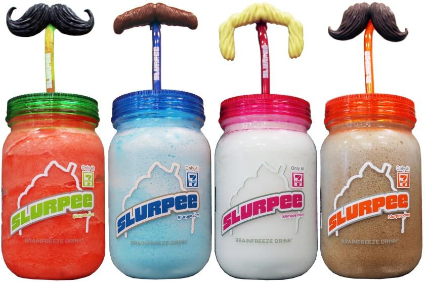 The new Slurpee mason jars and mustache straws from 7-Eleven.