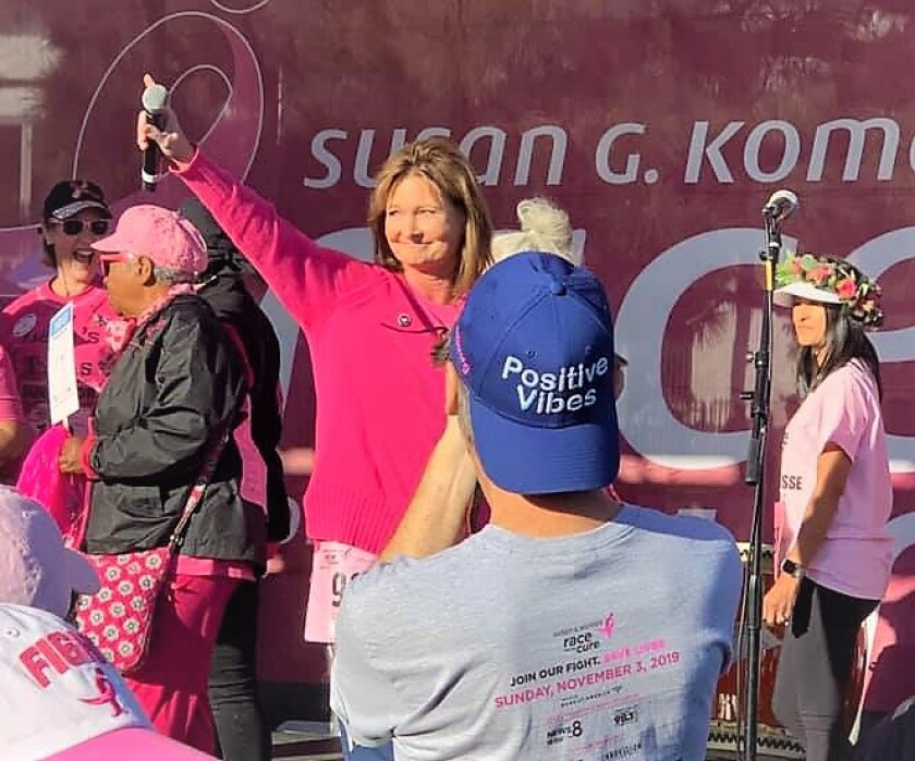 Former Mighty 1090 AM radio talk host Linda Welby puts a public face on breast cancer as the official Susan G. Komen 2019 Race for the Cure Honorary Breast Cancer Survivor at the Nov. 3 run.