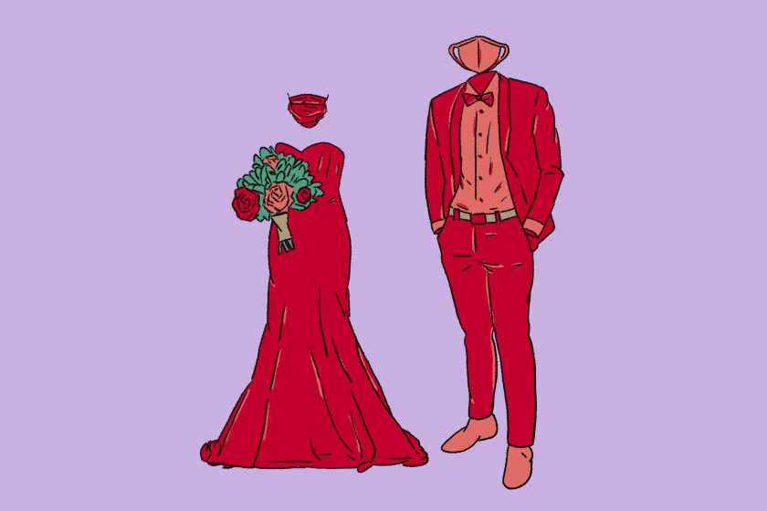Illustration of a bridal dress, and a groom's outfit -- both with matching masks