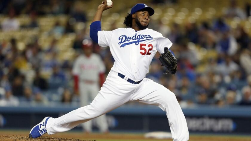 LOS ANGELES, CALIF. -- TUESDAY, MAY 29, 2018: Los Angeles Dodgers relief pitcher Pedro Baez (52) del