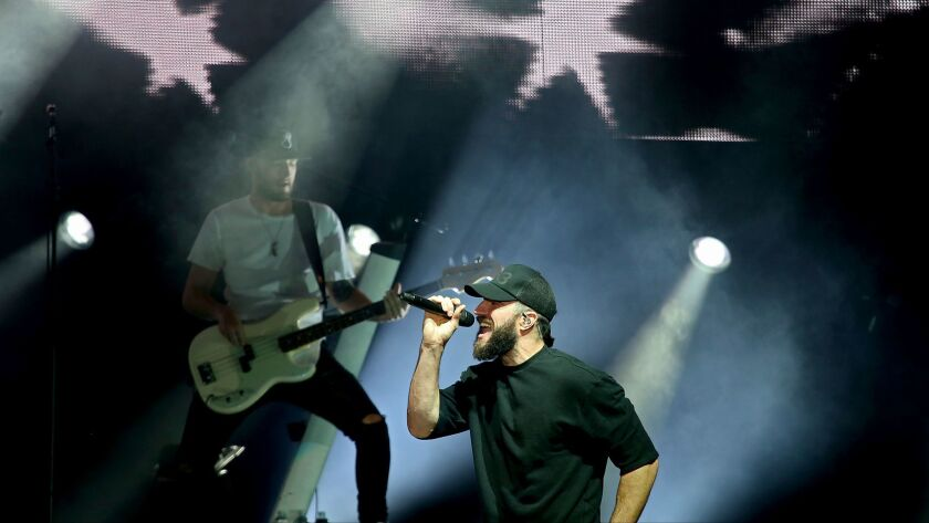 LOS ANGELES, CALIF. - AUG. 15, 2017. Country singer Sam Hunt performs at the Greek Theatre on Tuesd