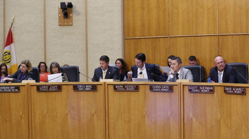 The San Diego City Council holds a hearing in 2018.
