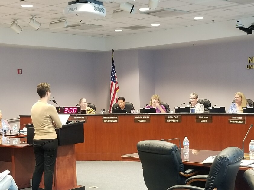 OC Human Relations Chief Executive Alison Edwards speaks to the Newport-Mesa Unified School District board of trustees.