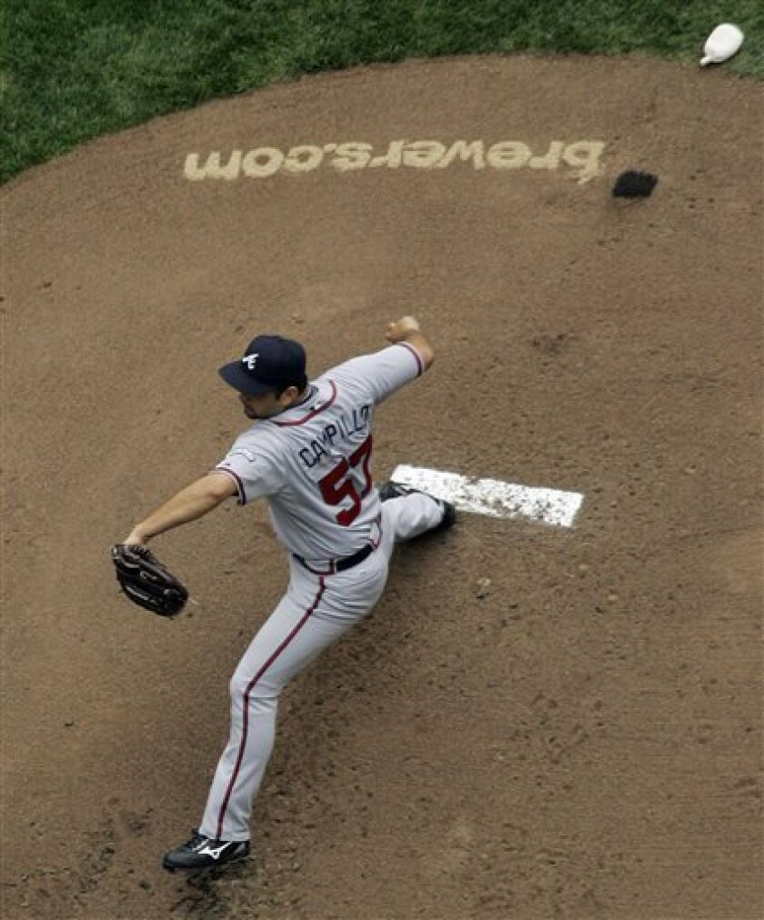 Atlanta Braves pitcher Jorge Campillo throws during the first inning of a baseball game against the Milwaukee Brewers, Thursday, May 29, 2008, in Milwaukee. (AP Photo/Morry Gash)