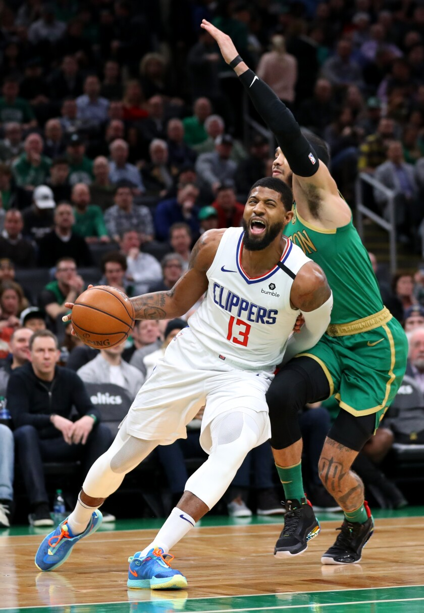 Clippers' Paul George exits game against Celtics after reinjuring hamstring