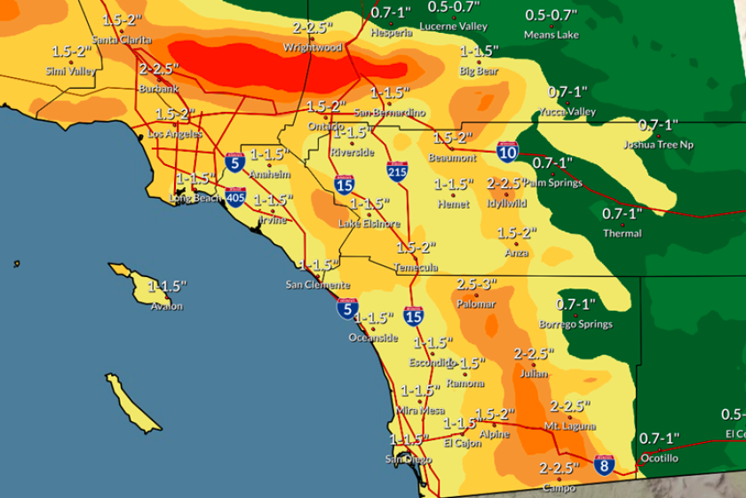 San Diego County will receive 1'' to 2.5'' of rain from late Monday to late Wednesday.
