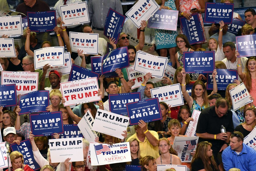 Supporters of the Republican nominee gathered Tuesday in Wilmington, N.C.