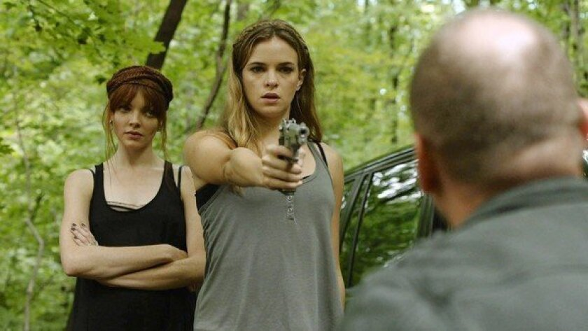 """Danielle Panabaker, left, Nicole LaLiberte and Andrew Howard in """"Girls Against Boys."""""""