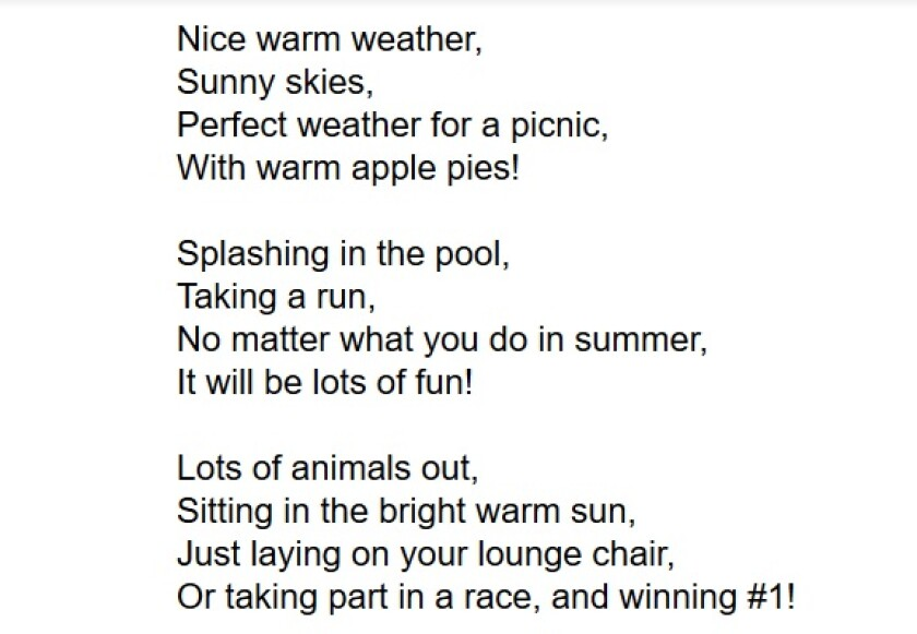 "The poem ""Summer,"" by Sage Westray, 8, a Pacific Beach Elementary School student."