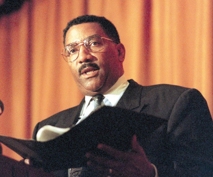 Former LAPD Chief Willie L. Williams, pictured reading a prepared statement in connection with the controversy over his leadership, has died. He was 72.