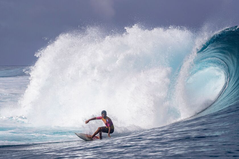 French surfer Jeremy Flores competes in the 2019 Tahiti Pro on Aug. 20 at Teahupo'o.