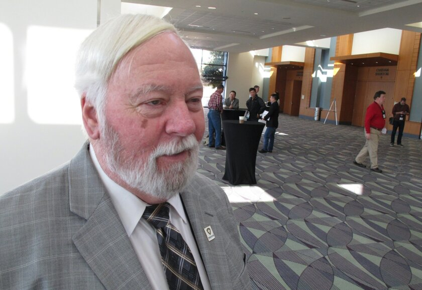 Joe Conlon, technical adviser for the American Mosquito Control Association, discusses challenges associated with fighting the mosquito that carry the Zika virus during the association's annual conference in Savannah, Georgia, on Monday, Feb. 8, 2016. Experts say the mosquito species known to sprea